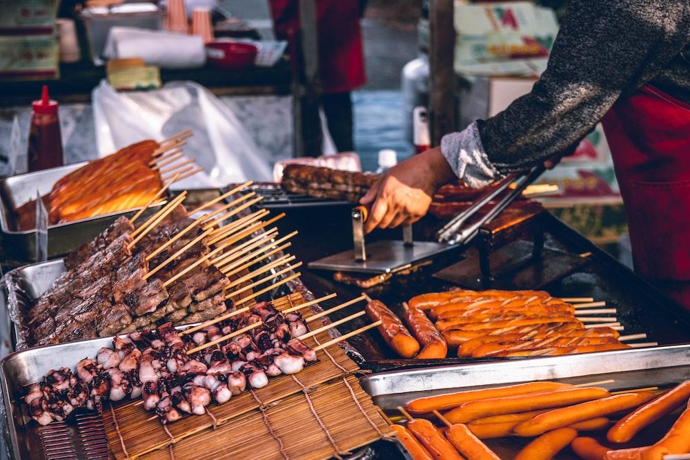 street food with sticks