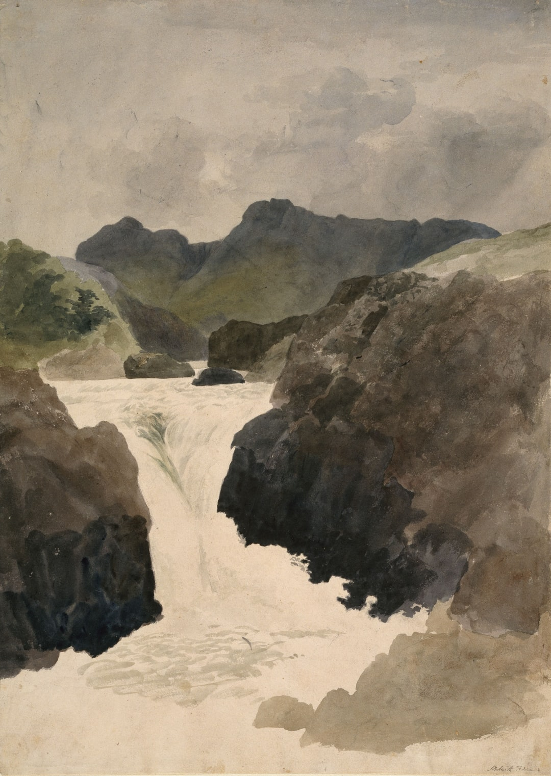 Skelwith Force, Westmorland, 1800-1820 by Robert Hills
