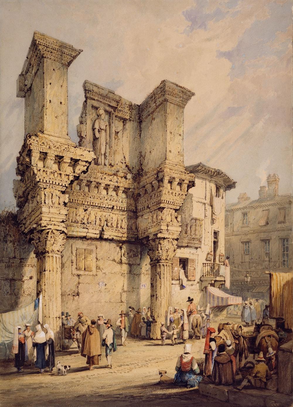 brown painting of people beside buildings