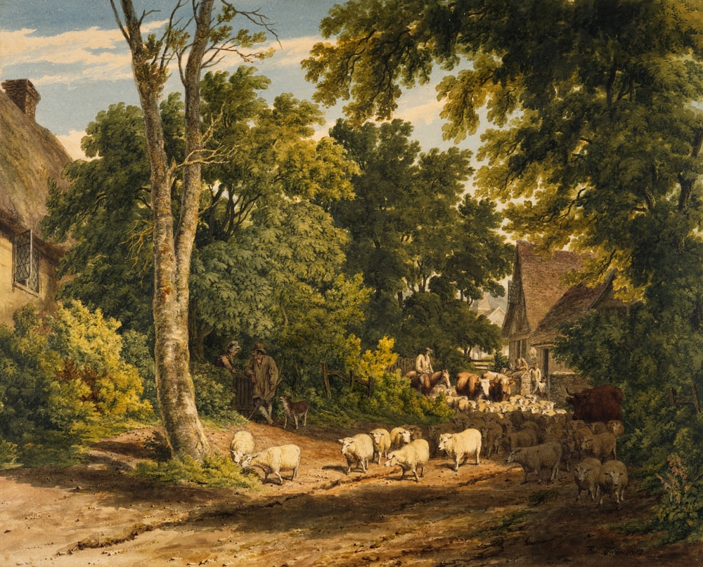 herd of sheep on road painting