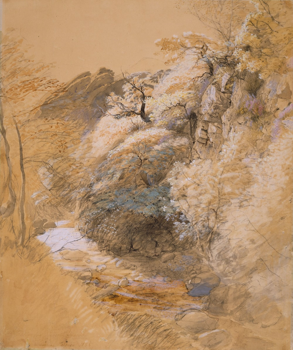 white and beige trees painting