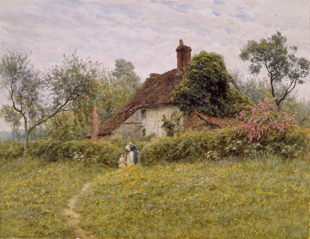 Old Cottages at Pinner, 1885-1895 by Helen Allingham