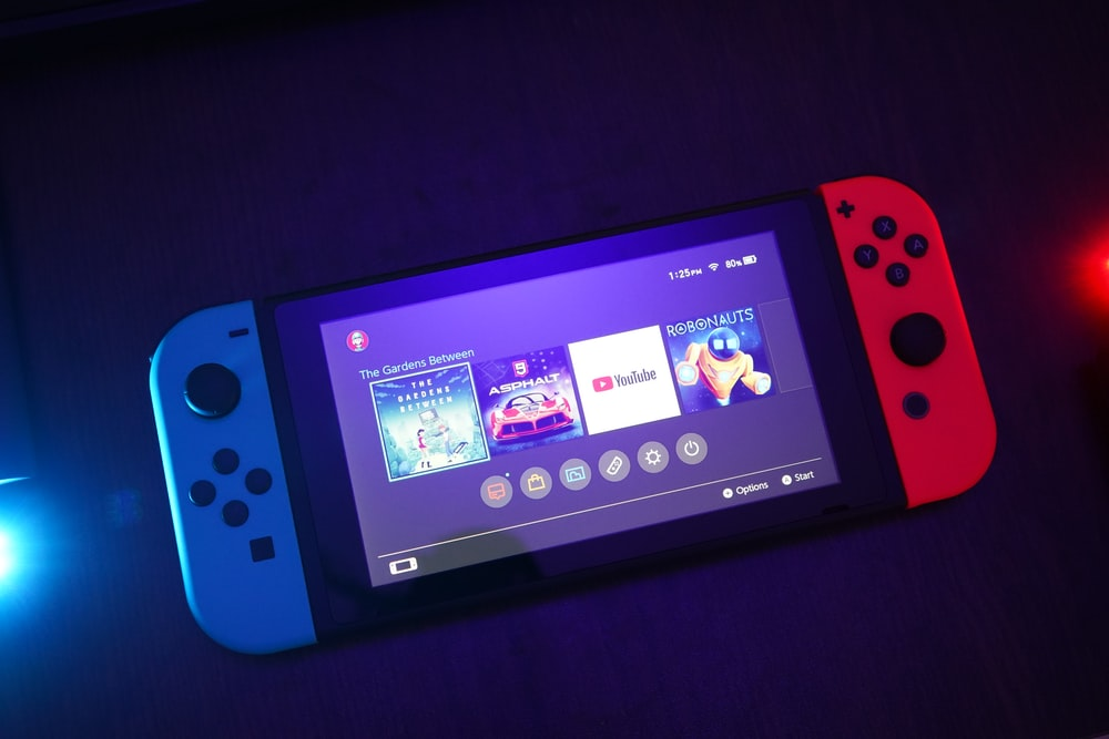 Nintendo Switch console turned on with Joy-Con controls