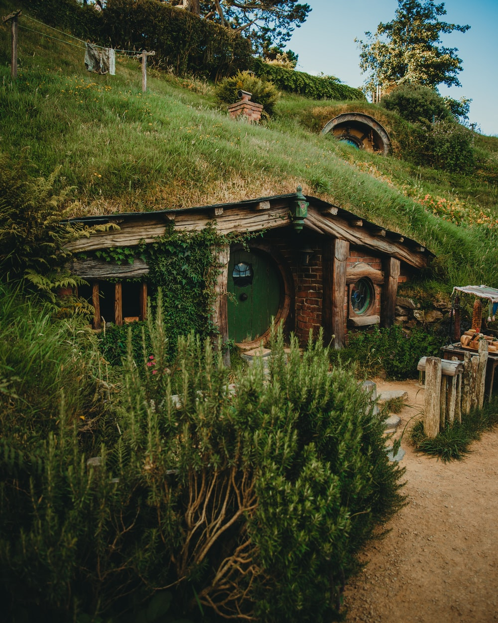 green and brown house