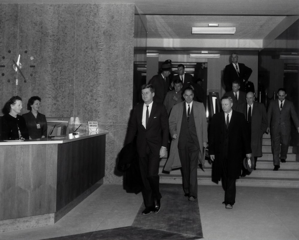 grayscale photo of John F. Kennedy