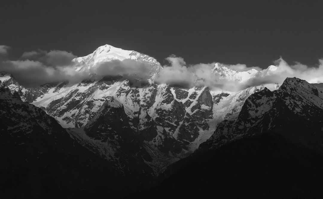 Black and white landscape of Himalayan mountains