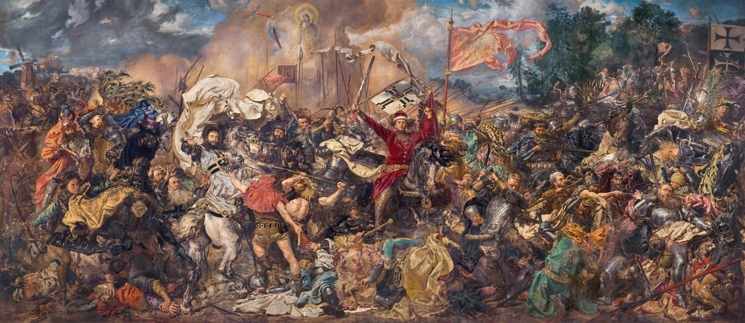 Battle of Grunwald. Jan Matejko based his depiction of the Battle of Grunwald on the account of Jan Długosz. Matejko has shown the final stage of the battle - retreat of Teutonic Knights and the death of Grand Master Ulrich von Jungingen. Provided by National Museum of Warsaw. PD for Public Domain Mark