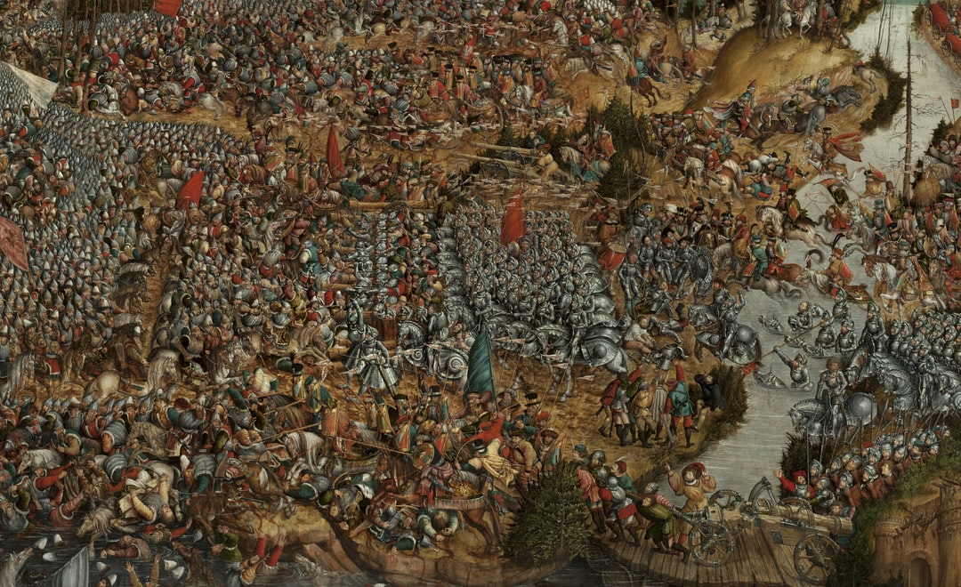 Battle of Orsha on 8 September 1514. The painting depicts one of the biggest battles in 16th century Europe - battle of Orsha, which took place on the 8th of September 1514. The battle was a culmination of a conflict between Polish-Lithuanian Commonwealth and the Grand Duchy of Moscow.  Creator: krąg Lucasa Cranacha Starszego, Hans Krell. Date: Unknown. Institution: National Museum in Warsaw. Provider: Europeana 280. Providing Country: Poland. PD for Public Domain Mark
