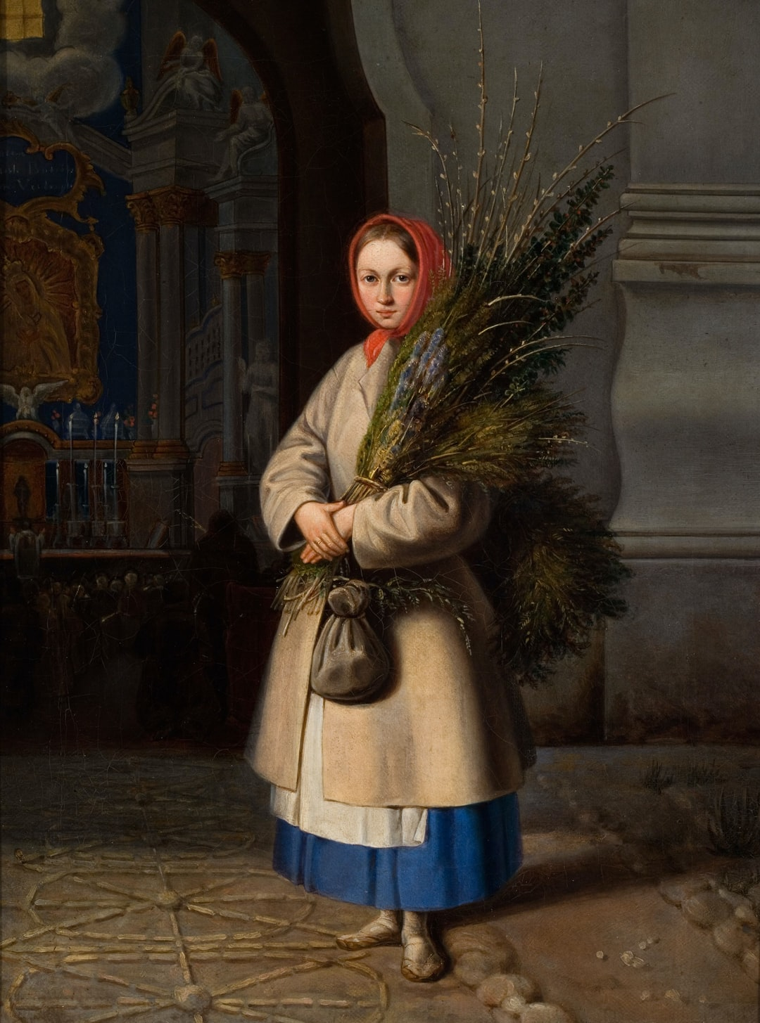 Lithuanian Girl with Palm Sunday Fronds by Kanutas Ruseckas. Provided by Lithuanian Art Museum. PD for Public Domain Mark