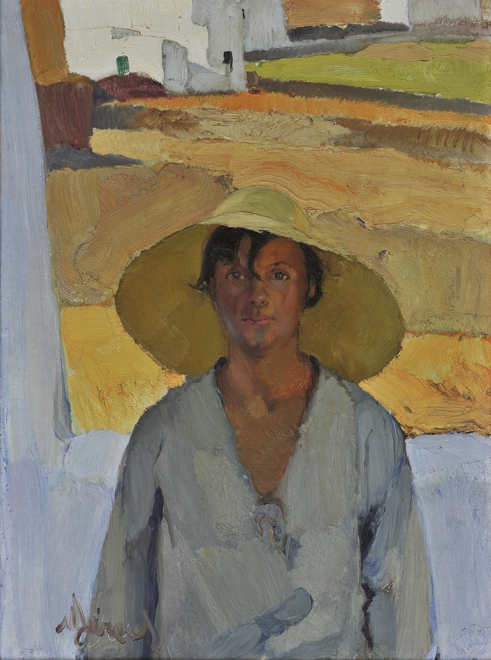 woman in blue button up shirt wearing brown straw hat