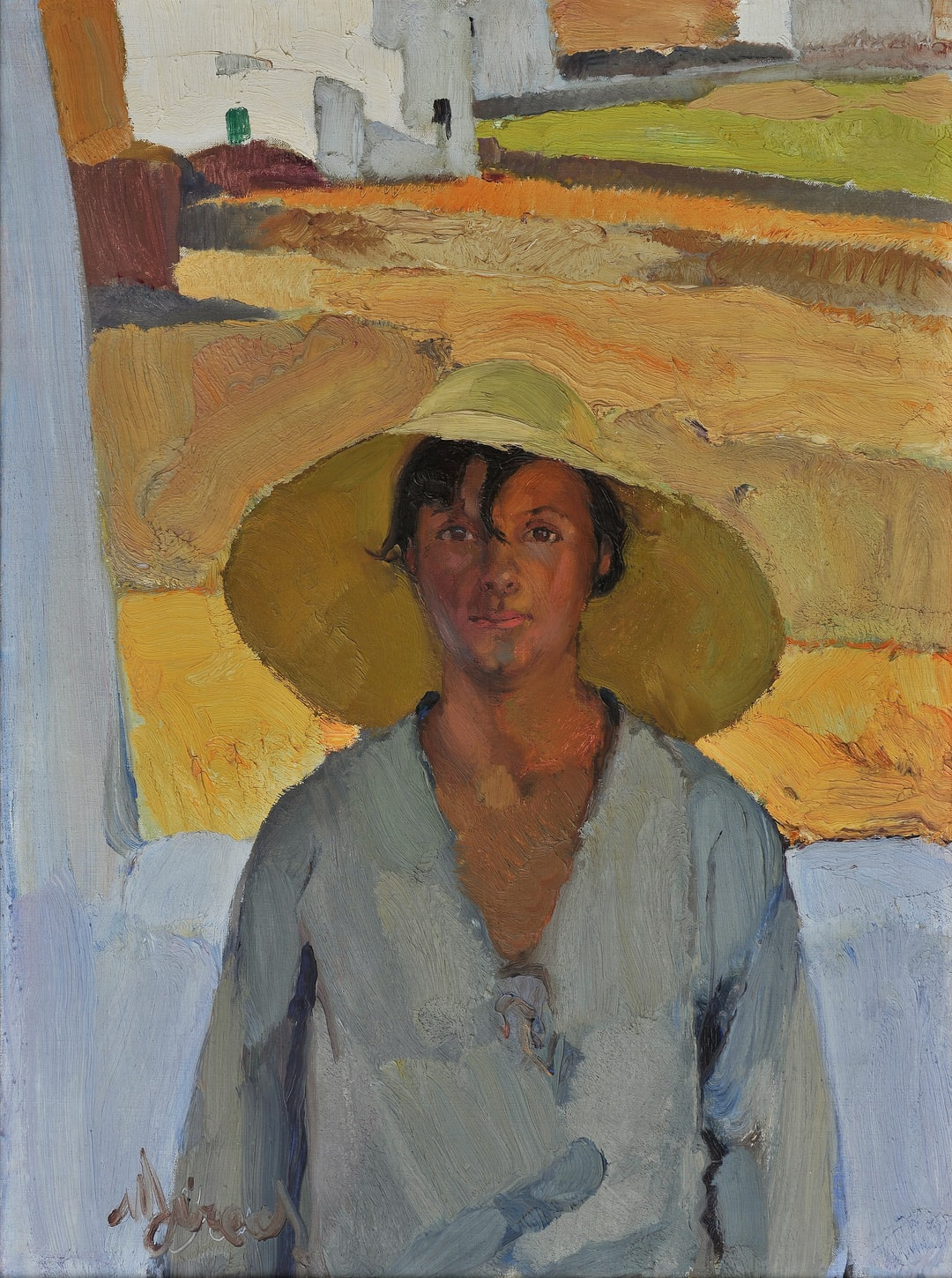 """The Straw Hat by Nikos Lytras . The """"""""Straw Hat"""""""" is one of the most impressive and daring works of early Greek modernism.  Provided by National Gallery - Alexandros Soutsos Museum. PD for Public Domain Mark"""