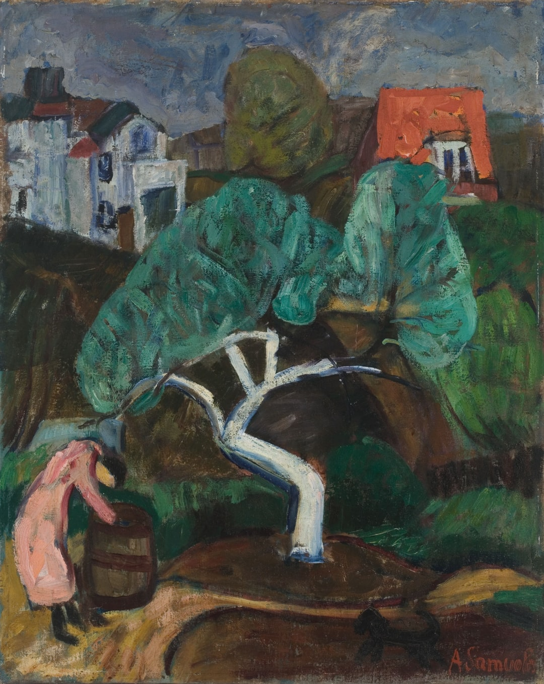 """The White Apple Tree by Antanas Samuolis. """"The White Apple Tree"""" by Expressionist painter Antanas Samuolis occupies a special place in the history of Lithuanian fine arts, as one of the most powerful pieces in the landscape genre.  Provided by Lithuanian Art Museum. PD for Public Domain Mark"""