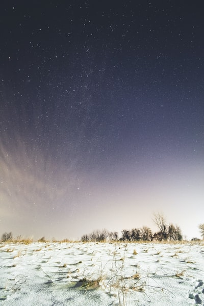 Starry sky above the wintery landscape of my rural home town.