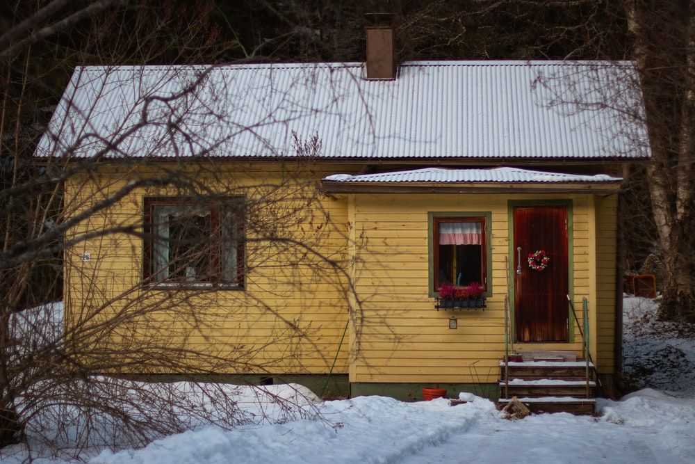 yellow house near bare trees during daytime