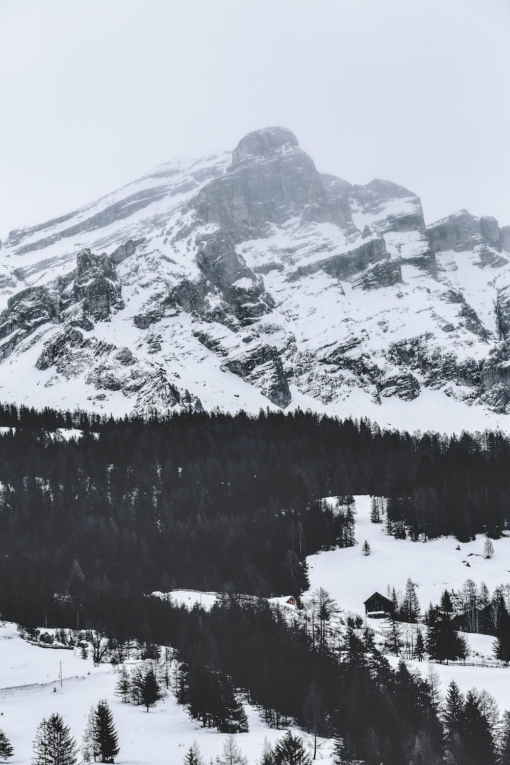 grayscale photography of mountain alps