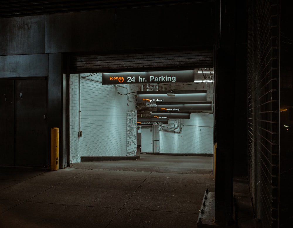 lighted 24-hour parking lot