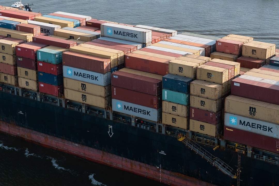 Shipping containers on a boat