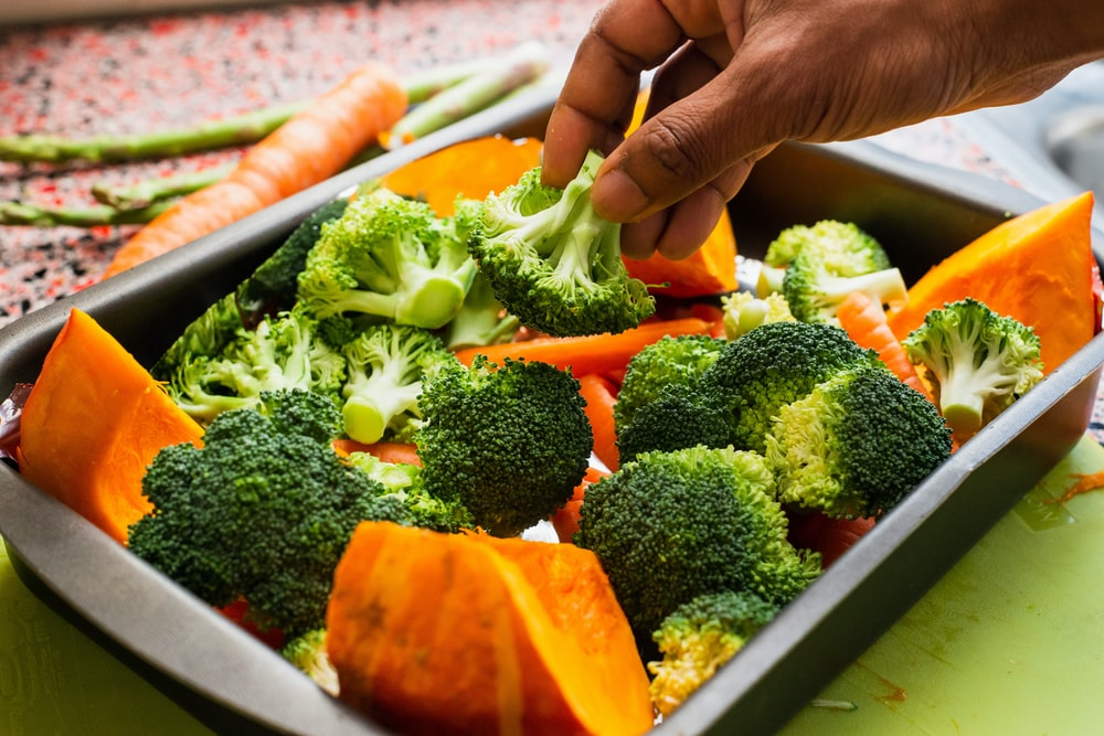 broccoli and squash in tray