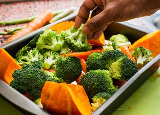 broccoli and squash in tray