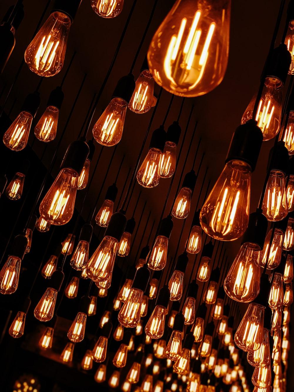 lighted orange pendant bulbs