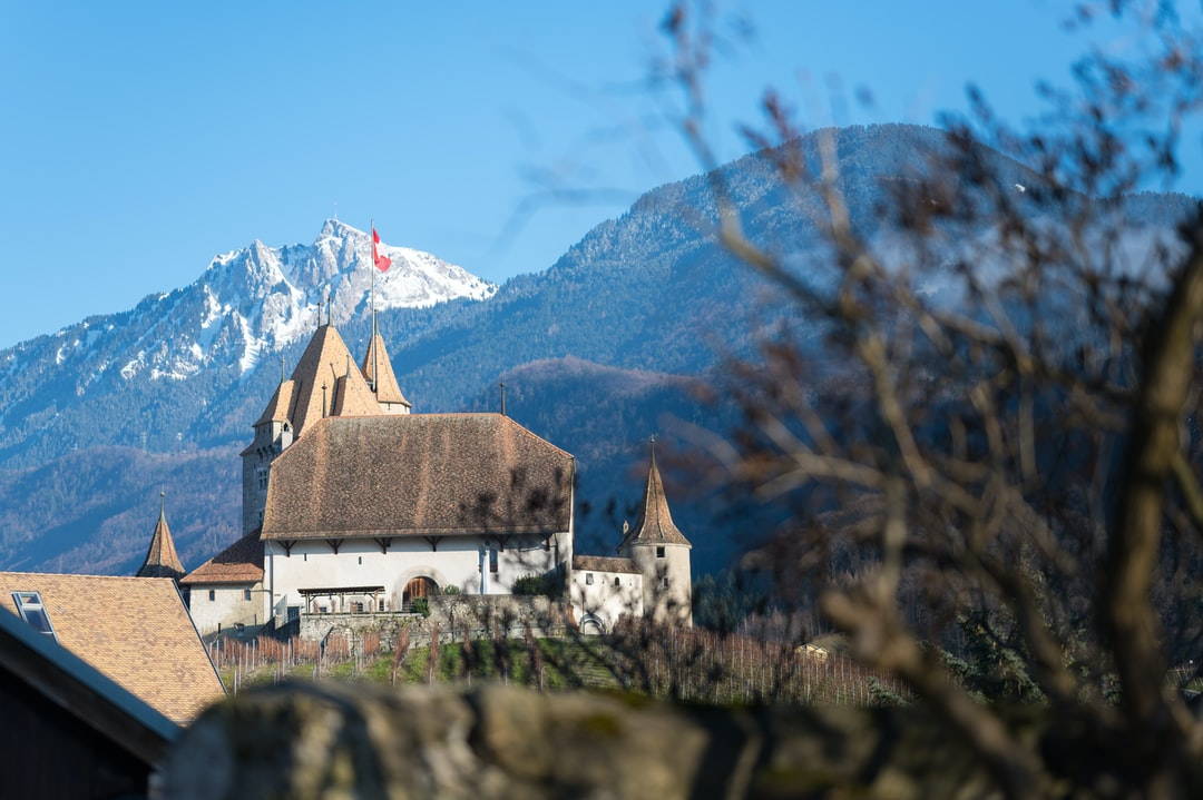 Aigle's castle in front of the mountain, Switzerland