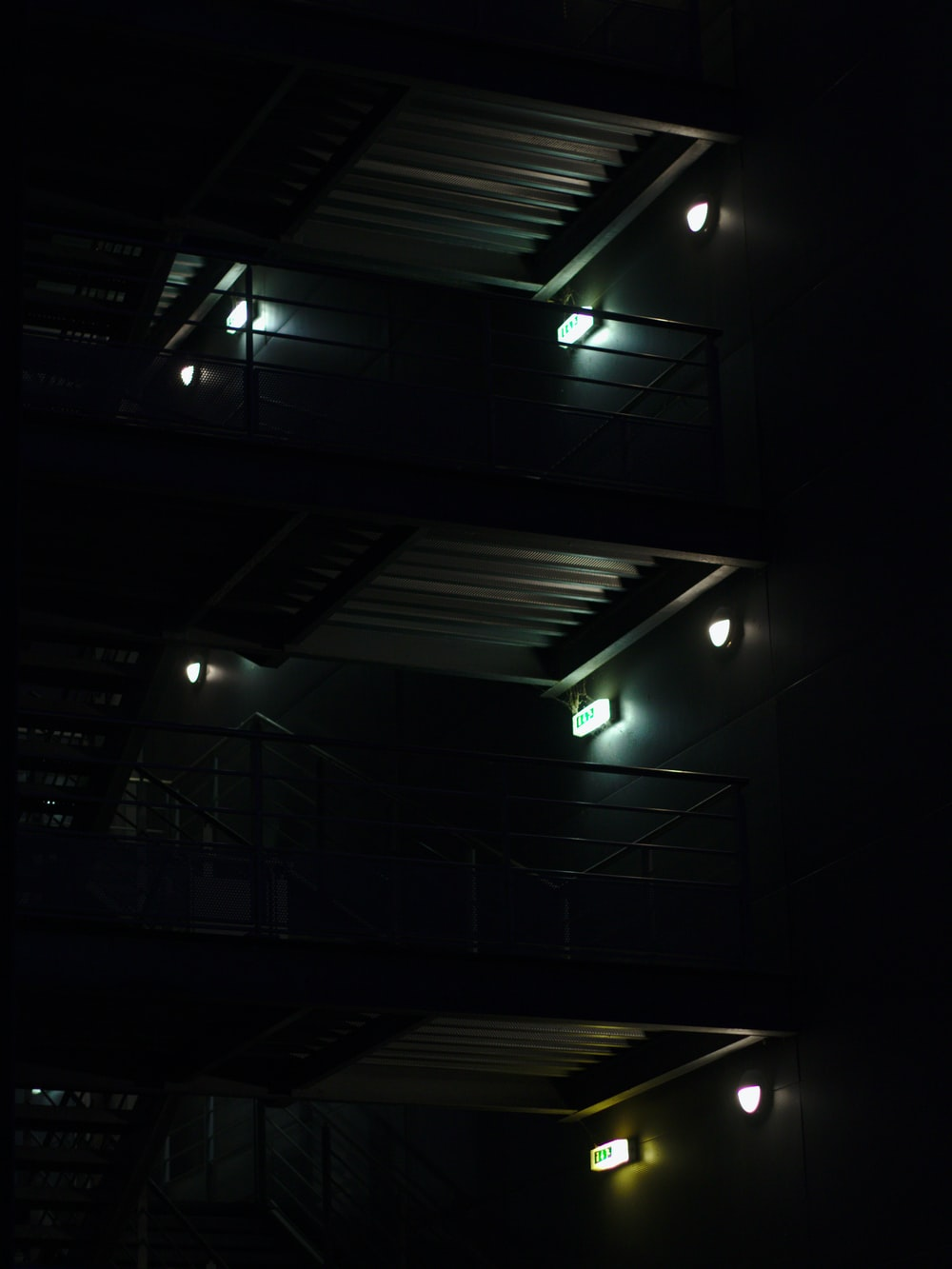 gray lamps inside building
