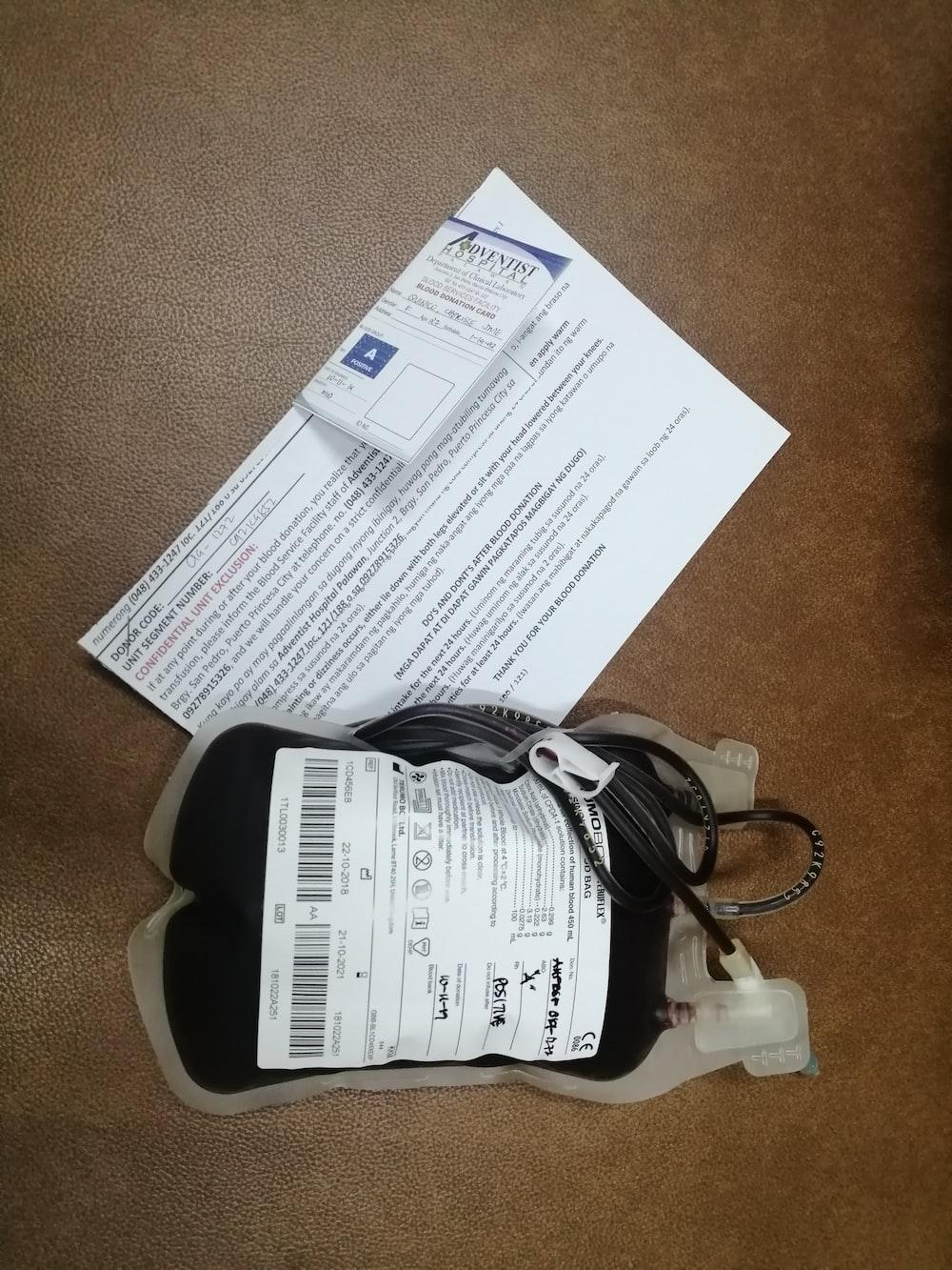 gray blood bag