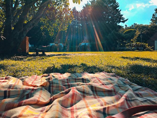 picnic blanket in park