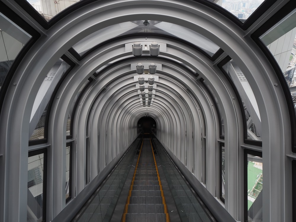 white and gray tunnel