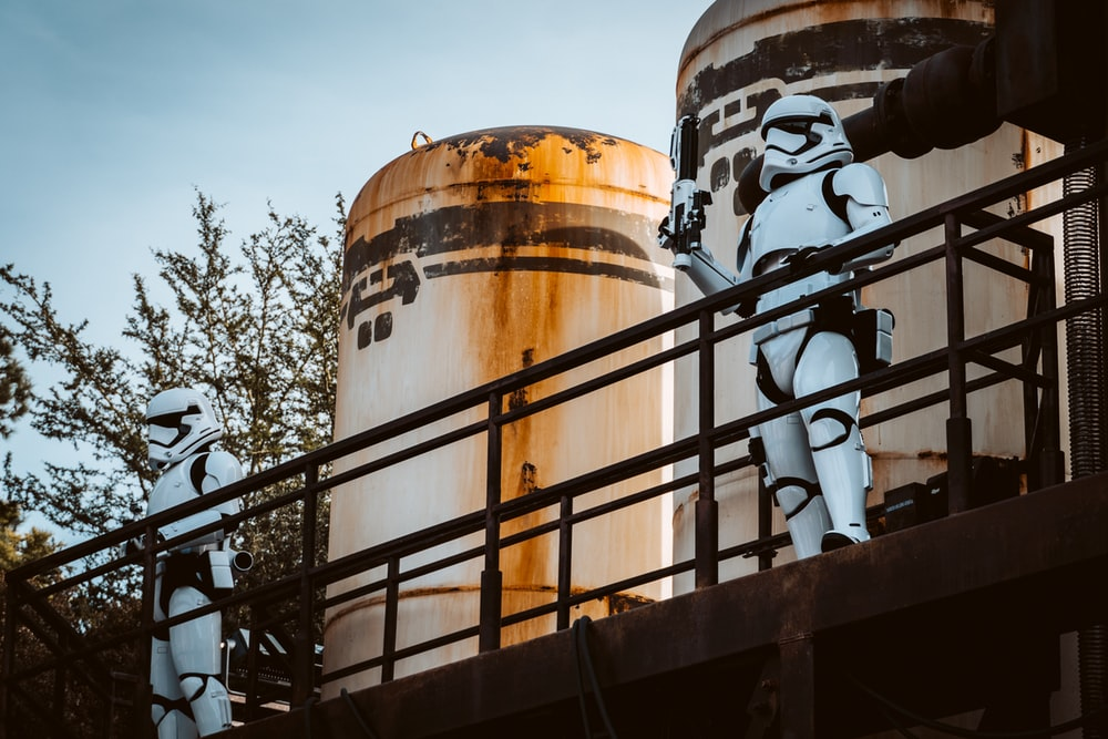 white storm troopers and white tanks