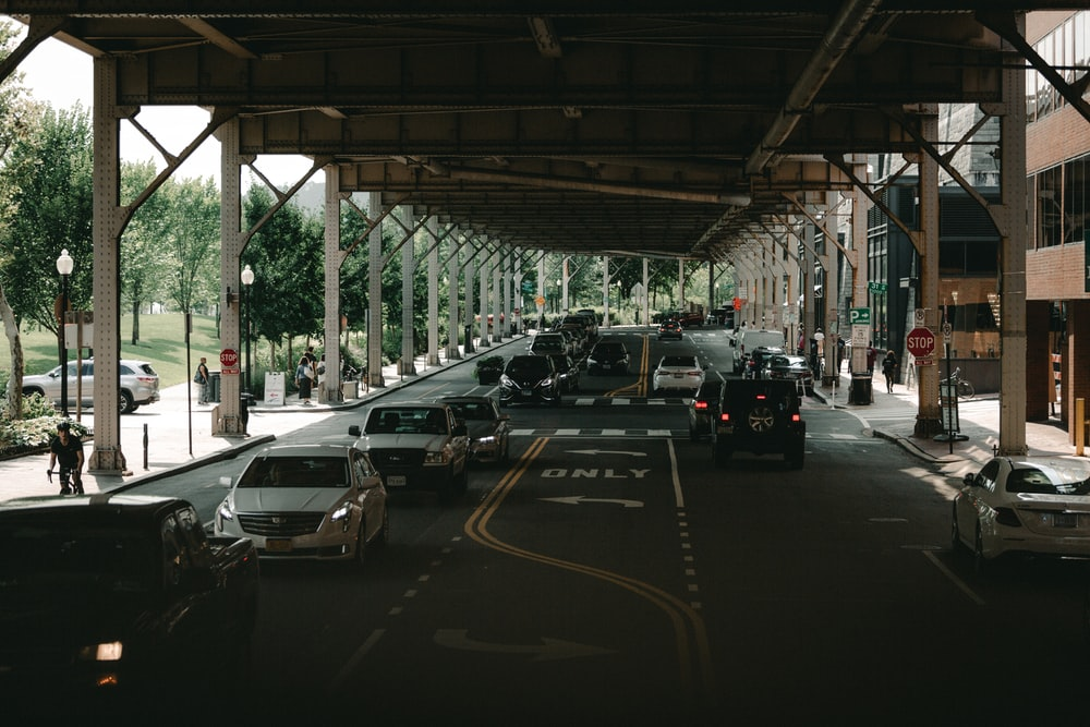 vehicles crossing road