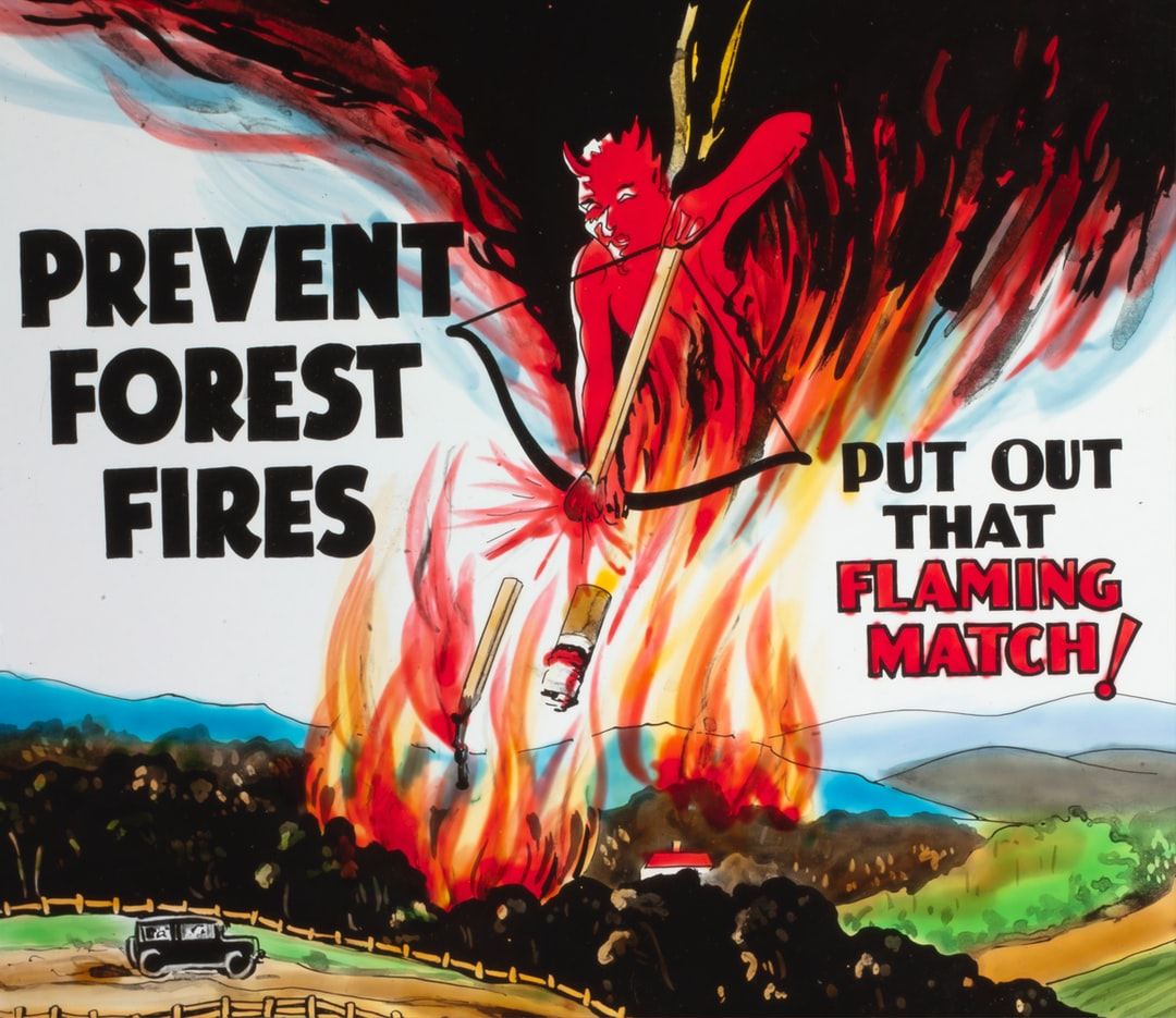 Lantern Slide - 'Prevent Forest Fires', Coloured Advertisement, for use with BANZARE Lantern Slides & Film,circa 1929-1940