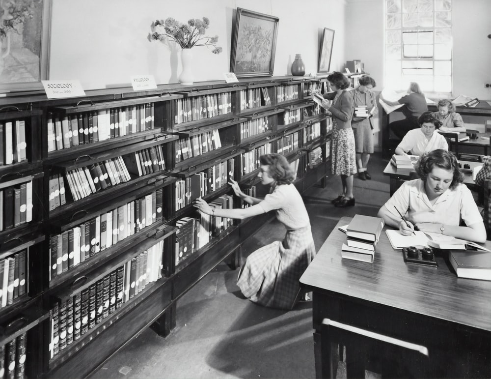 vintage photo of women inside the library