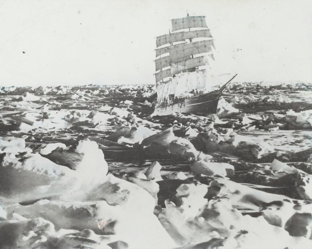 ship on ice land