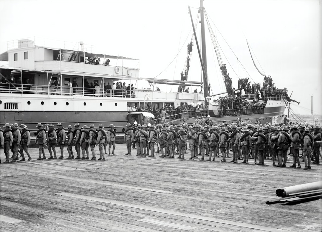 Glass Negative - Soldiers Embarking Ship, Melbourne