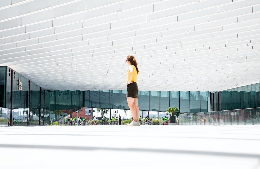 woman standing inside open area