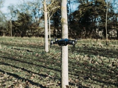 black drone flying beside tree during daytime