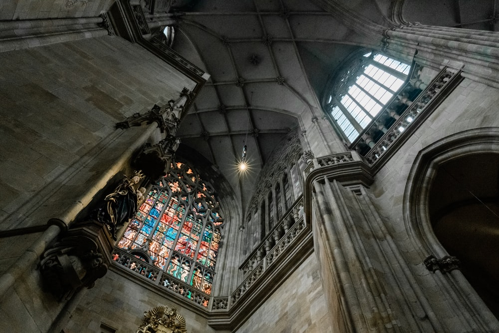 low-angle photograph of cathedral interior