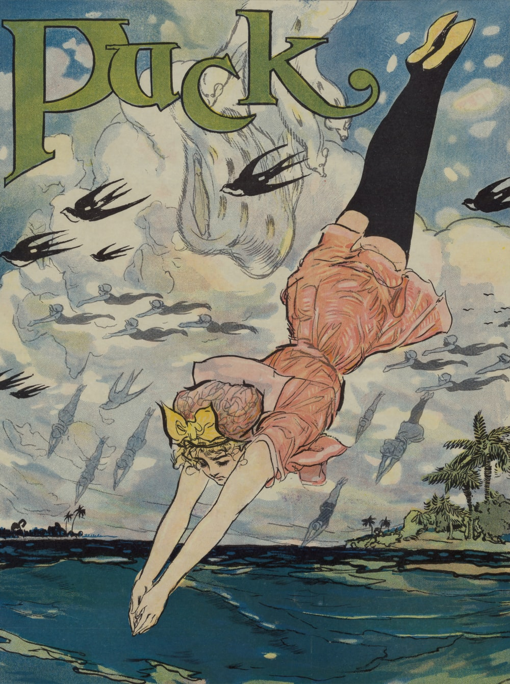 From Maine to Florida. Cartoon illustration by Gordon Ross and published for Puck Magazine, 1911.