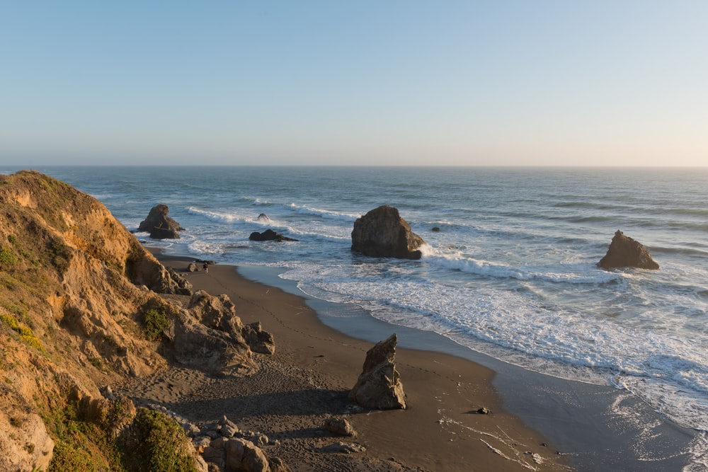 Scenic views along Route 1 near the Pacific Ocean in Northern California.