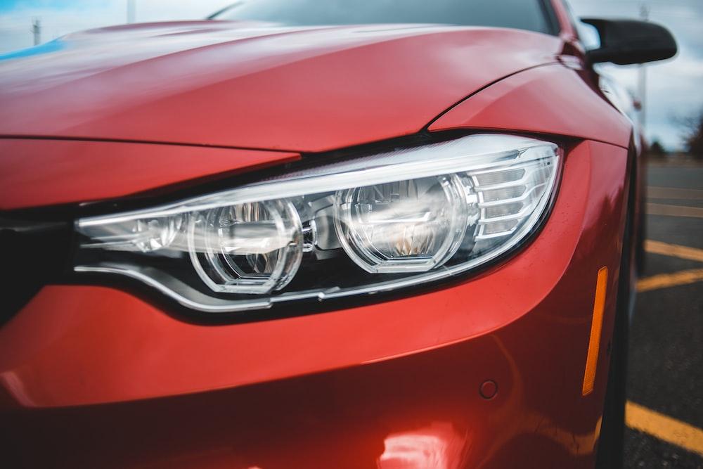 Red BMW headlight