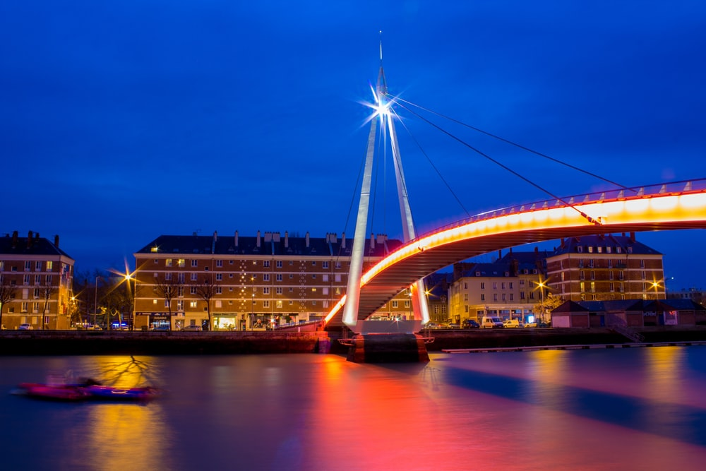 gray bridge during golden hour