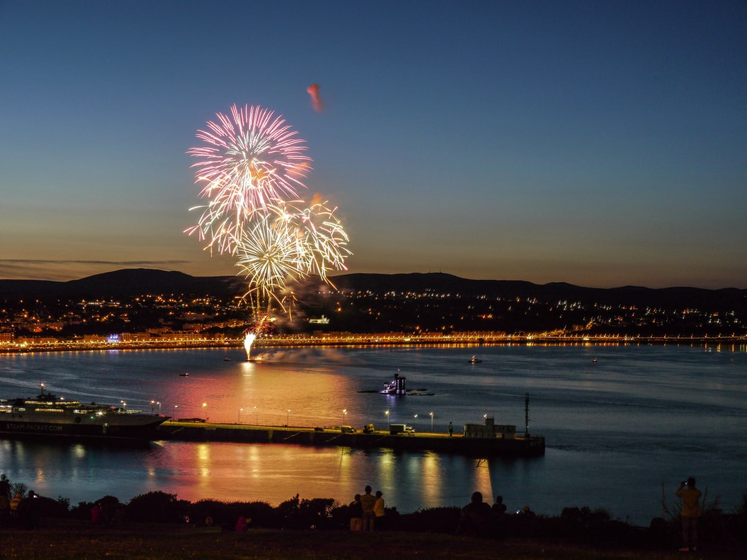 Fireworks reflecting in the sea, Douglas Bay, Isle of Man