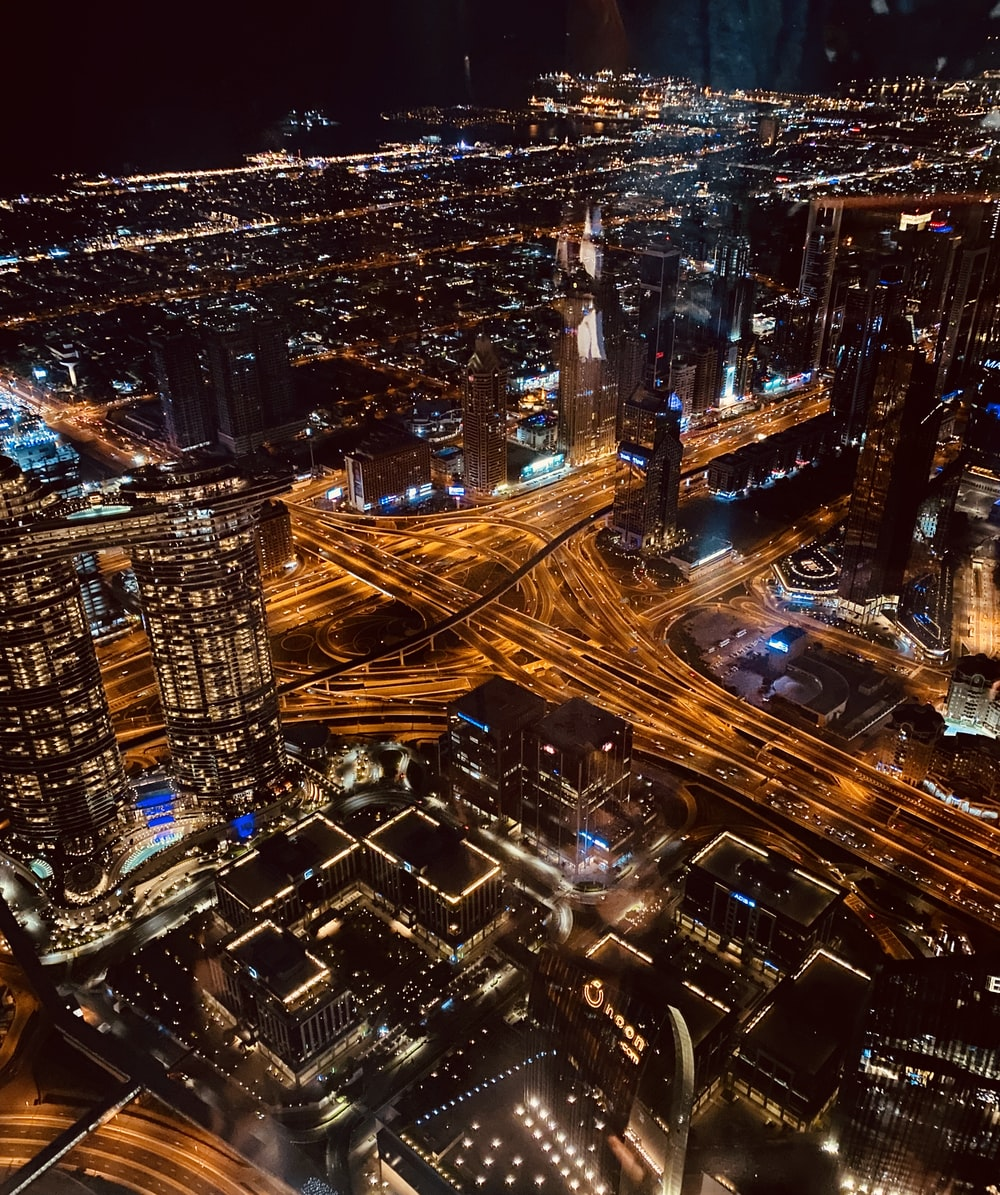 aerial view of lighted cityscape at night
