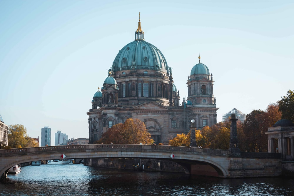 Berlin Cathedral under blue and white sky