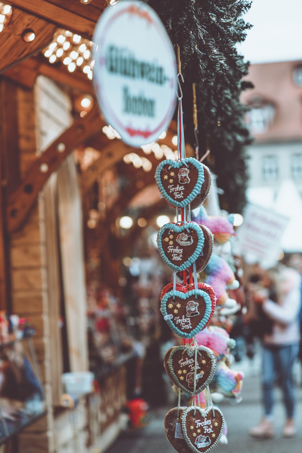 selective focus photography of hanging heart ornaments during daytime