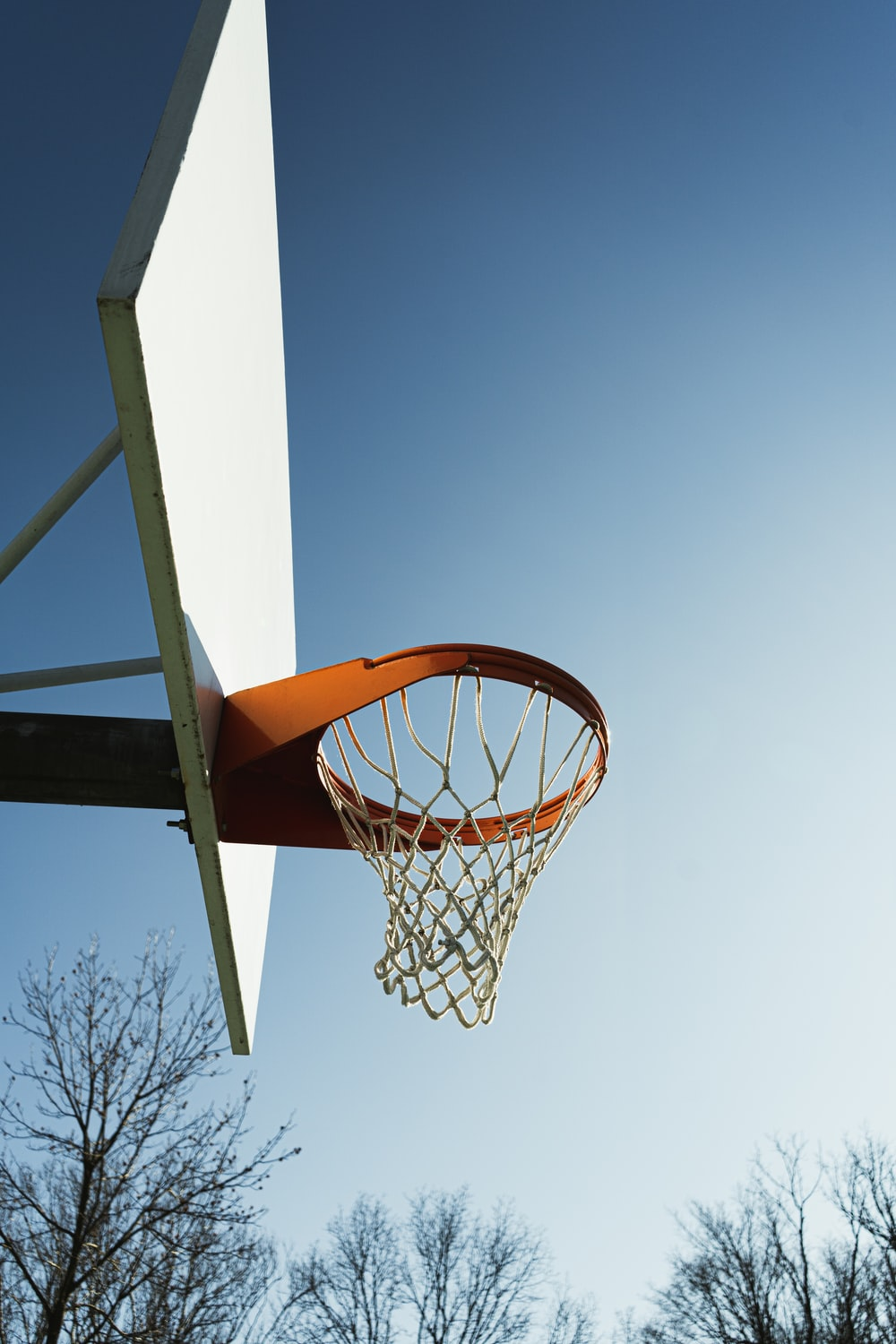 low angle photography of basketball hoop