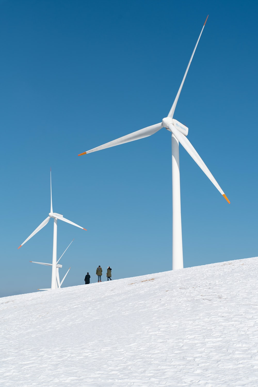 people standing near wind turbines during daytime