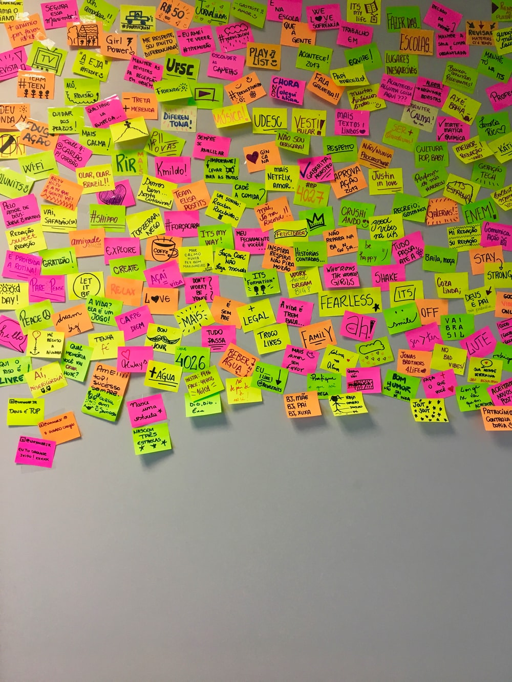 assorted-color sticky notes