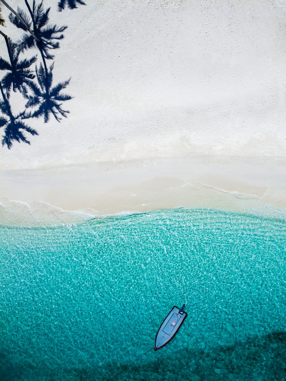 aerial photography blue boat near shore